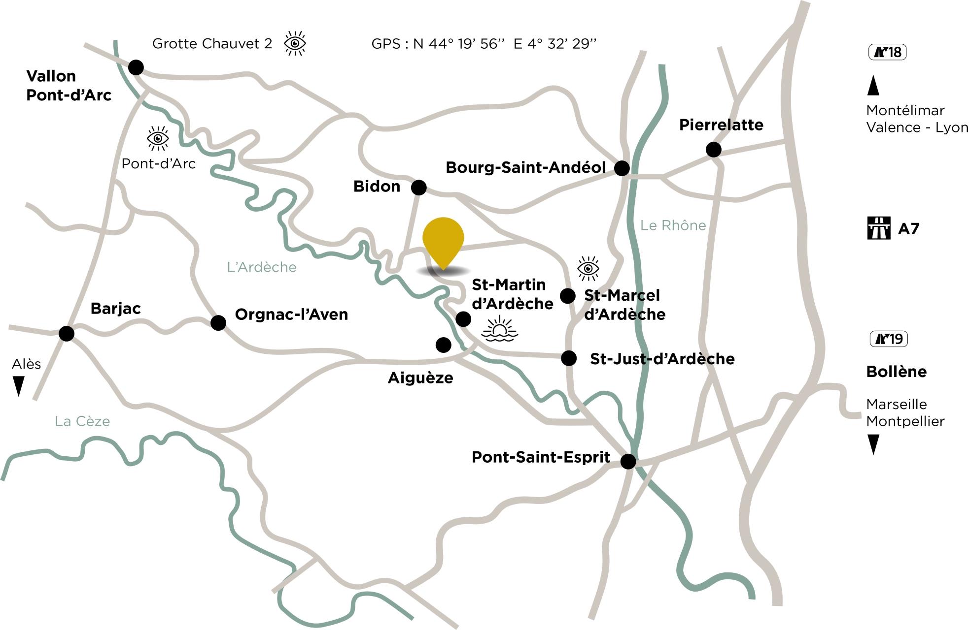 saint marcel cave ardeche access map motorway a7 montelimar or bollene exit